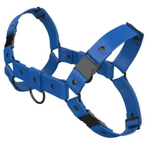One Size Bulldog Harness – Standard Leather – Blue - Gun Metal Black Fittings