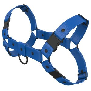 One Size Bulldog Harness – Standard Leather – Blue - Black Plastic Fittings
