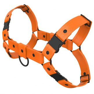One Size Bulldog Harness – Standard Leather – Orange - Black Plastic Fittings