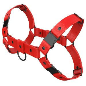 One Size Bulldog Harness – Standard Leather – Red - Gun Black Metal Fittings