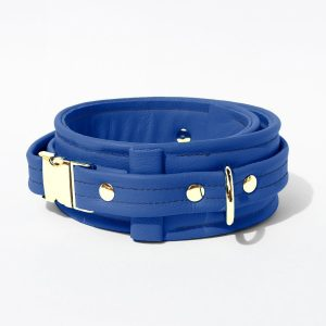 Collar – Standard Leather – Blue - Gold Metal Fittings