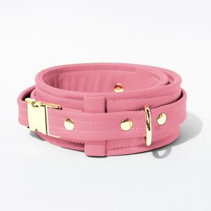 Collar – Standard Leather – Pink - Gold Metal Fittings