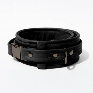 Collar – Standard Leather – Black - Gun Metal Black Fittings