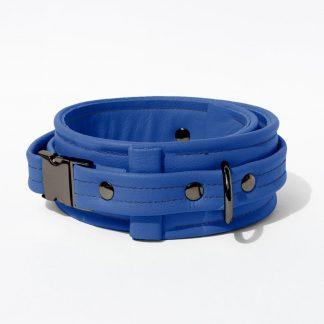 Collar – Standard Leather – Blue - Gun Metal Black Fittings