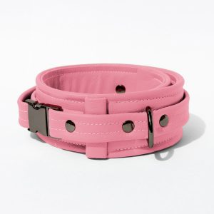 Collar – Standard Leather – Pink - Gun Metal Black Fittings