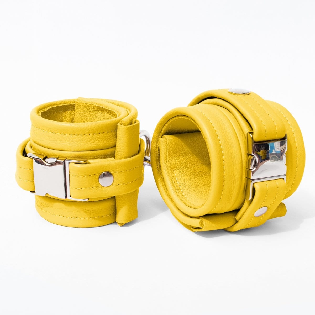 One Size Wrist Restraint Set - Standard Leather - Yellow - Silver Metal Fittings