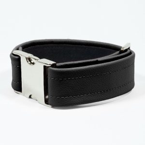 Bicep Strap – Standard Leather – Black - Silver Metal Fittings