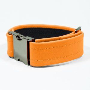 Bicep Strap – Standard Leather – Orange - Gun Metal Black Fittings