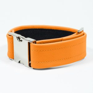Bicep Strap – Standard Leather – Orange - Silver Metal Fittings