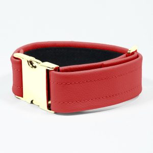 Bicep Strap – Standard Leather – Red - Gold Metal Fittings