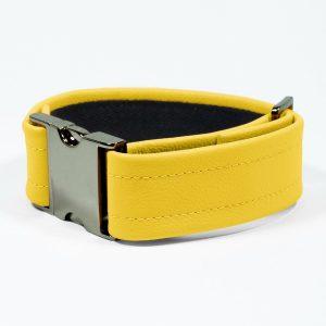 Bicep Strap – Standard Leather – Yellow - Gun Metal Black Fittings