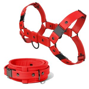Bulldog Harness + Collar – Standard Leather – Red - Gun Metal Black Fittings