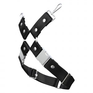 One Size Leg Harness – Standard Leather – Black - Silver Metal Fittings