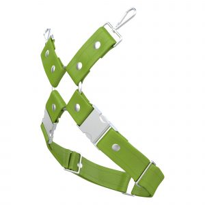One Size Leg Harness – Standard Leather – Green - Silver Metal Fittings