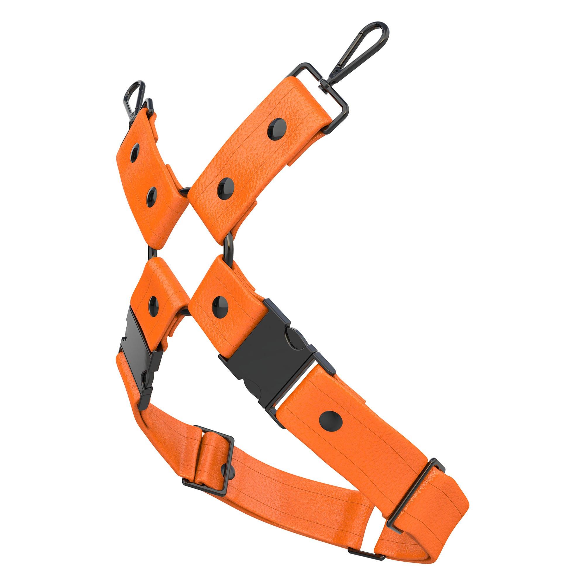 One Size Leg Harness – Standard Leather – Orange - Black Metal Fittings