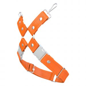 One Size Leg Harness – Standard Leather – Orange - Silver Metal Fittings