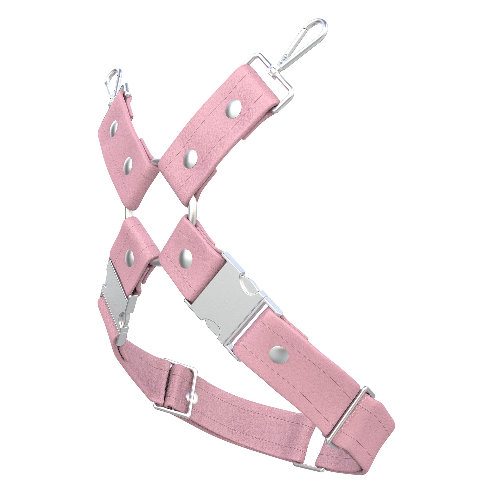 One Size Leg Harness – Standard Leather – Pink - Silver Metal Fittings