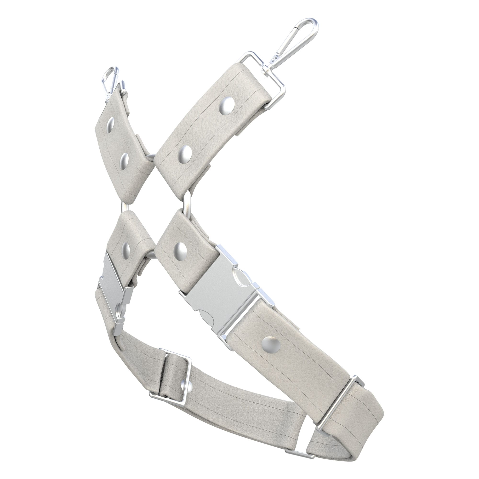 One Size Leg Harness – Standard Leather – White - Silver Metal Fittings