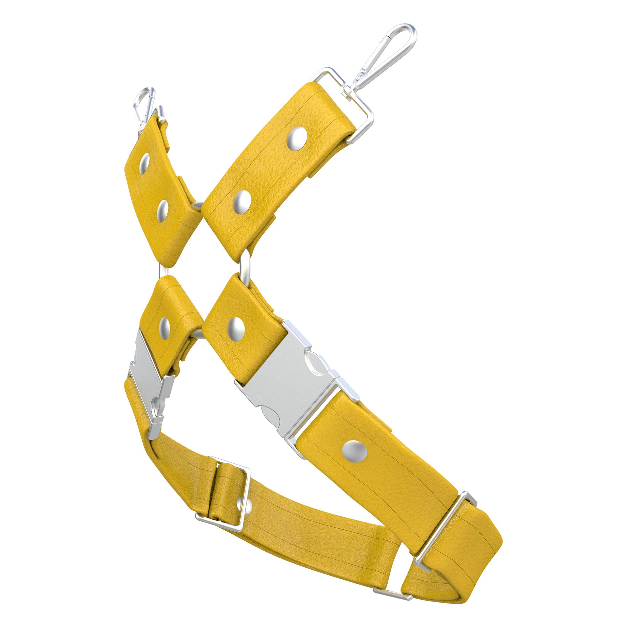 One Size Leg Harness – Standard Leather – Yellow - Silver Metal Fittings