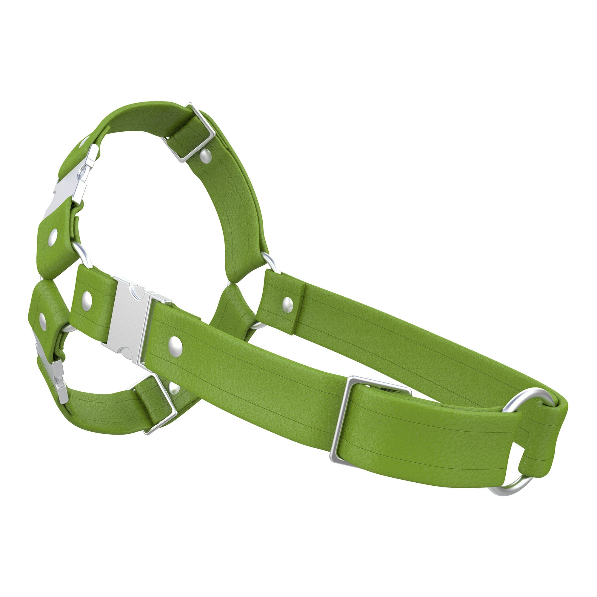 One Size Spartan Harness – Standard Leather – Green - Silver Metal Fittings