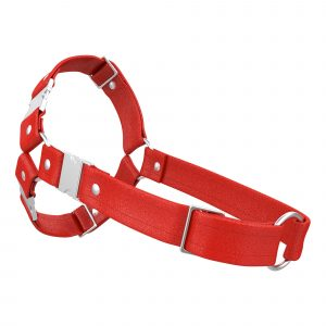 One Size Spartan Harness – Standard Leather – Red - Silver Metal Fittings