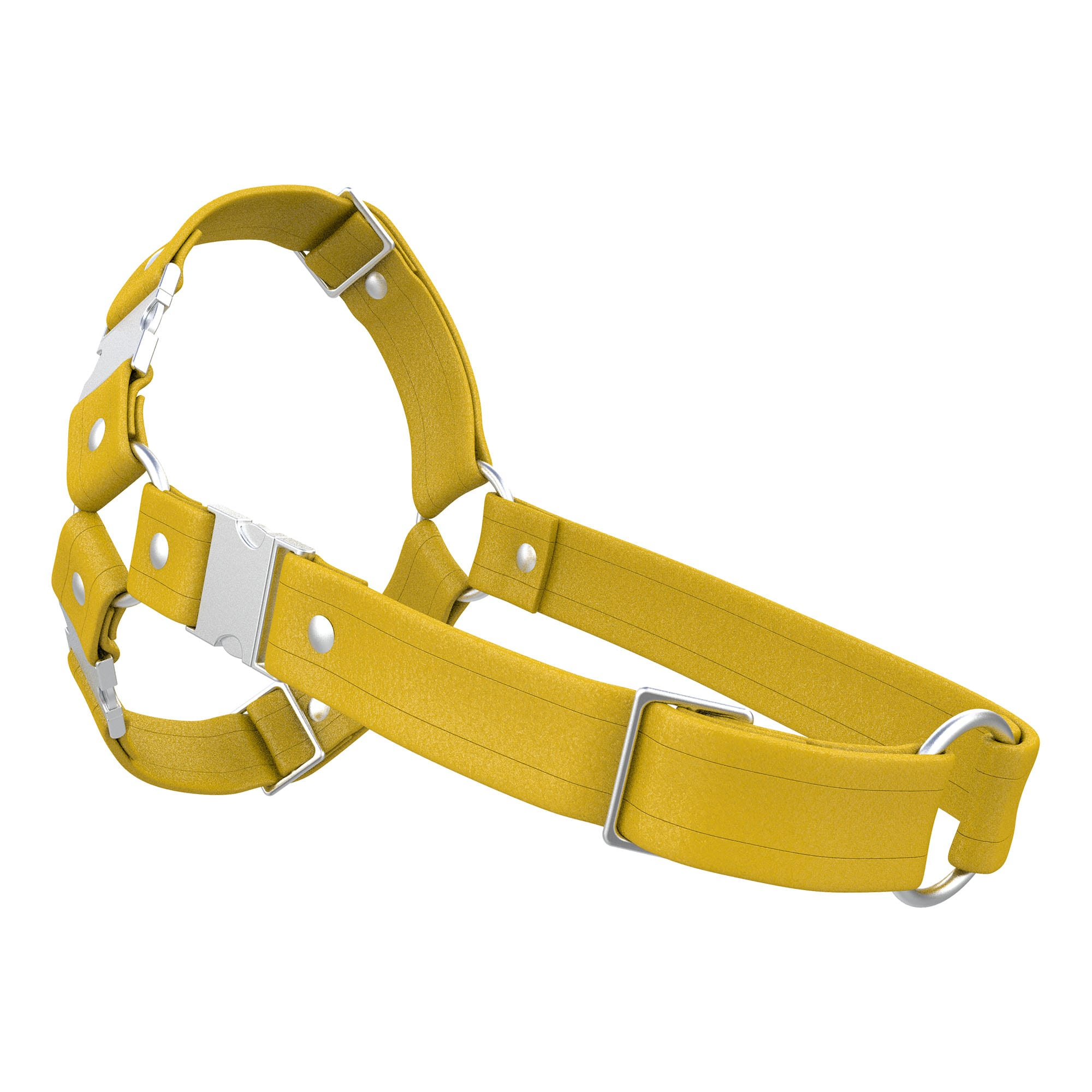 One Size Spartan Harness – Standard Leather – Yellow - Silver Metal Fittings